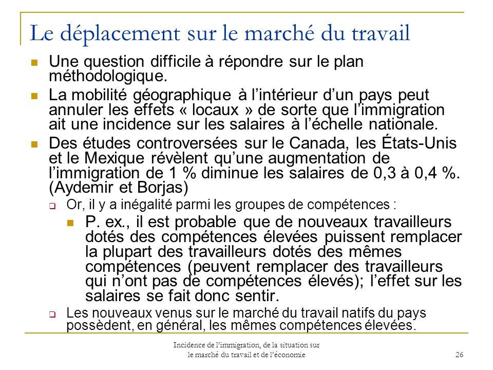 Incidence de limmigration, de la situation sur le marché du travail et de léconomie 26 Le déplacement sur le marché du travail Une question difficile à répondre sur le plan méthodologique.