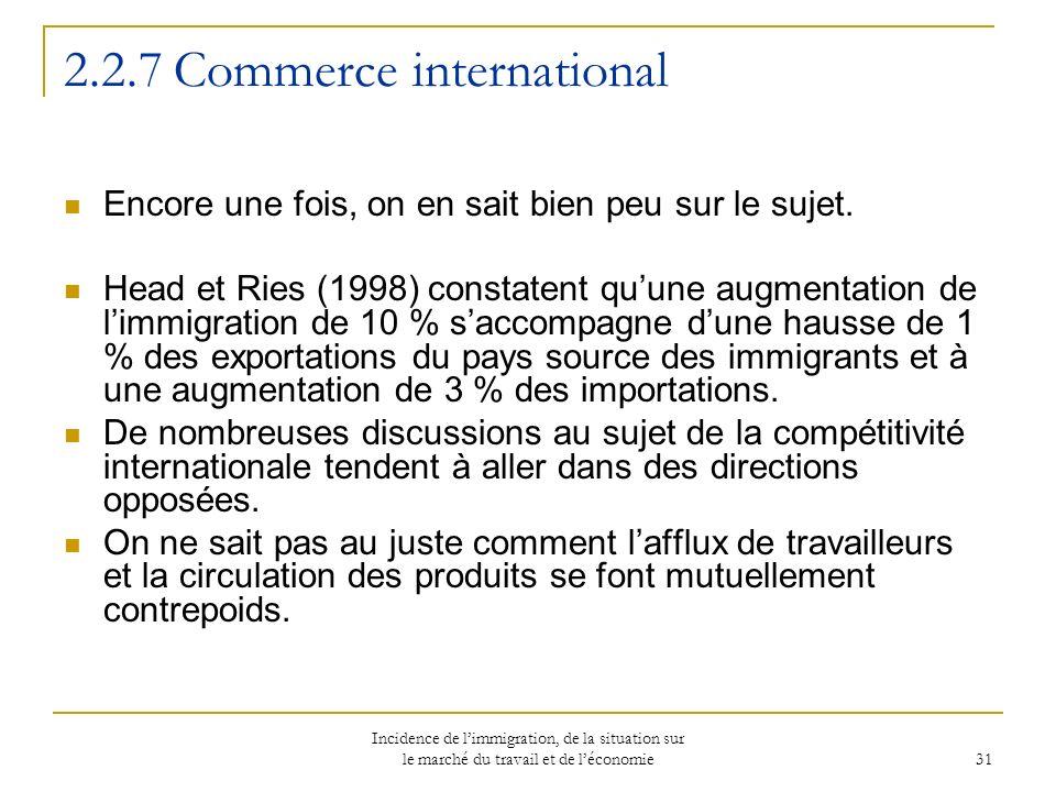 Incidence de limmigration, de la situation sur le marché du travail et de léconomie 31 2.2.7 Commerce international Encore une fois, on en sait bien peu sur le sujet.