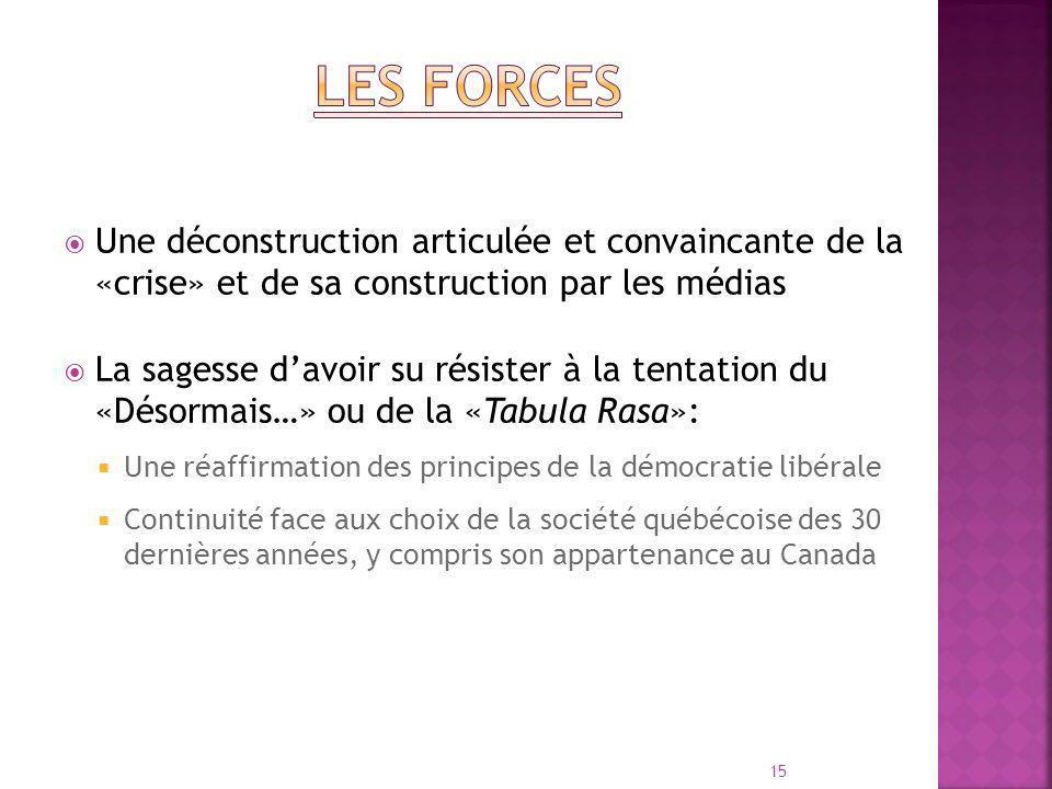 Une déconstruction articulée et convaincante de la «crise» et de sa construction par les médias La sagesse davoir su résister à la tentation du «Désormais…» ou de la «Tabula Rasa»: Une réaffirmation des principes de la démocratie libérale Continuité face aux choix de la société québécoise des 30 dernières années, y compris son appartenance au Canada 15
