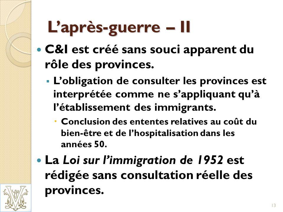 Laprès-guerre – II C&I est créé sans souci apparent du rôle des provinces.