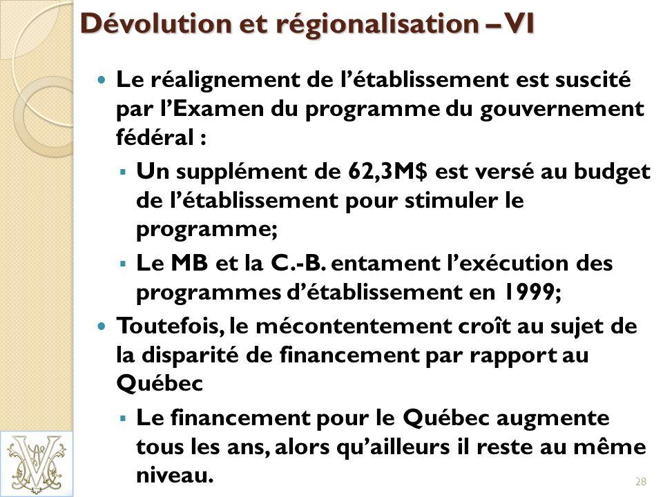 Dévolution et régionalisation – VI Le réalignement de létablissement est suscité par lExamen du programme du gouvernement fédéral : Un supplément de 62,3M$ est versé au budget de létablissement pour stimuler le programme; Le MB et la C.-B.