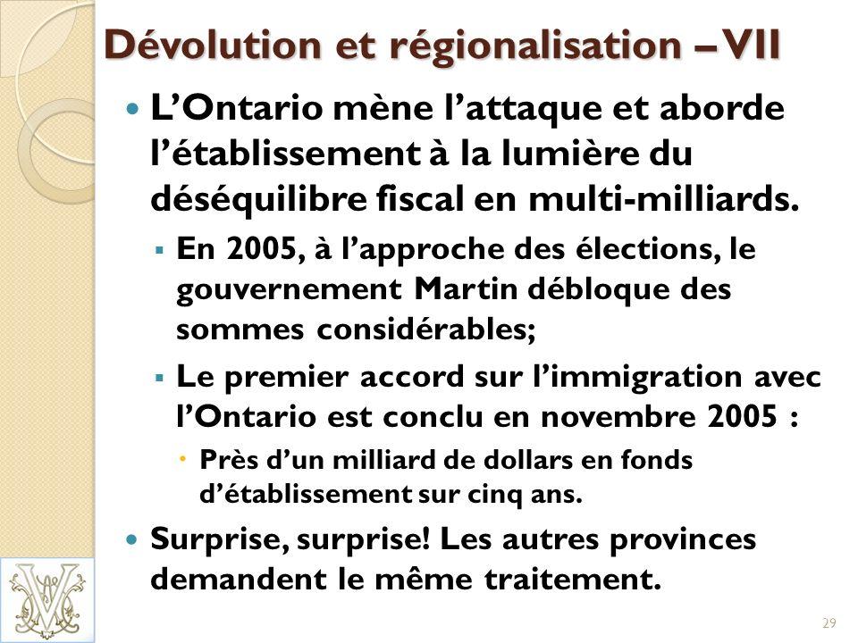 Dévolution et régionalisation – VII LOntario mène lattaque et aborde létablissement à la lumière du déséquilibre fiscal en multi-milliards.
