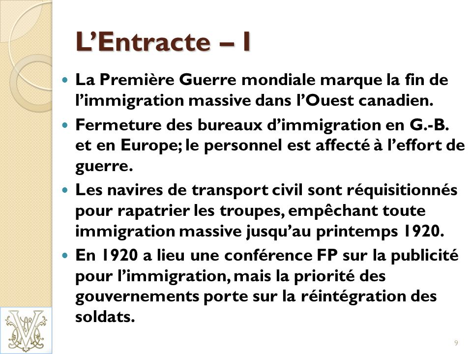 LEntracte – II 1928 – Comité permanent pour lexamen de lagriculture et de la colonisation Le Comité recommande que les provinces jouent un rôle plus important dans le placement, létablissement et le suivi des immigrants.