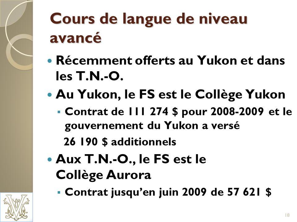 Cours de langue de niveau avancé Récemment offerts au Yukon et dans les T.N.-O.
