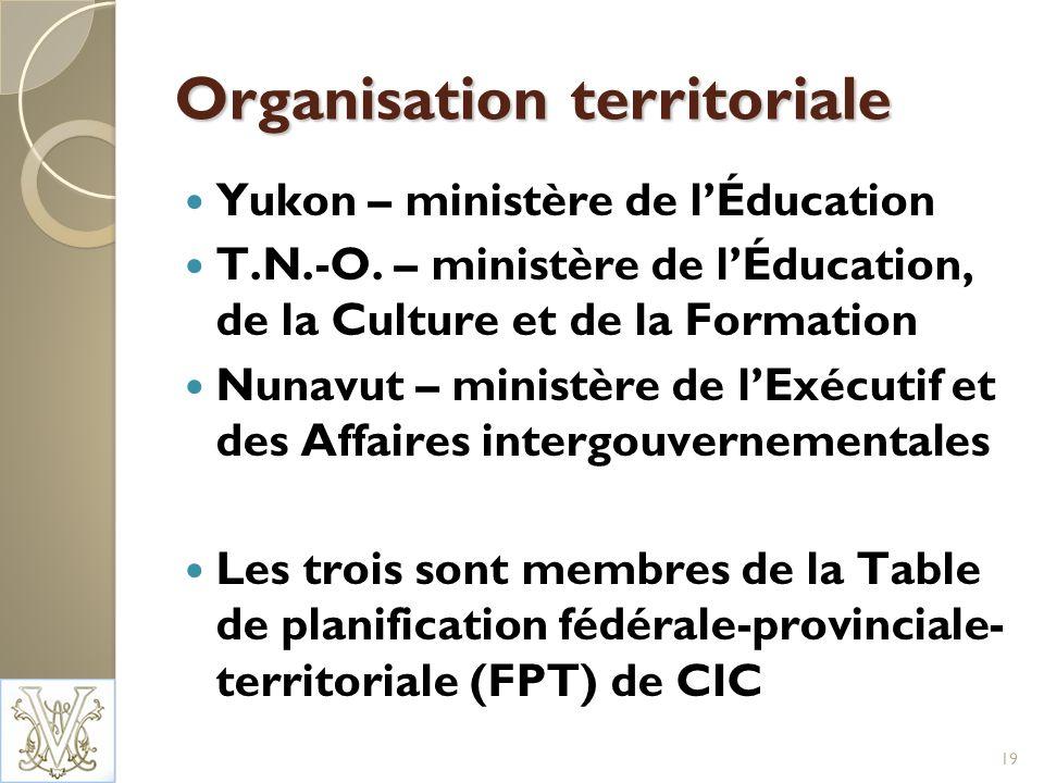 Organisation territoriale Yukon – ministère de lÉducation T.N.-O.
