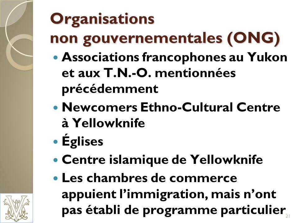 Organisations non gouvernementales (ONG) Associations francophones au Yukon et aux T.N.-O.
