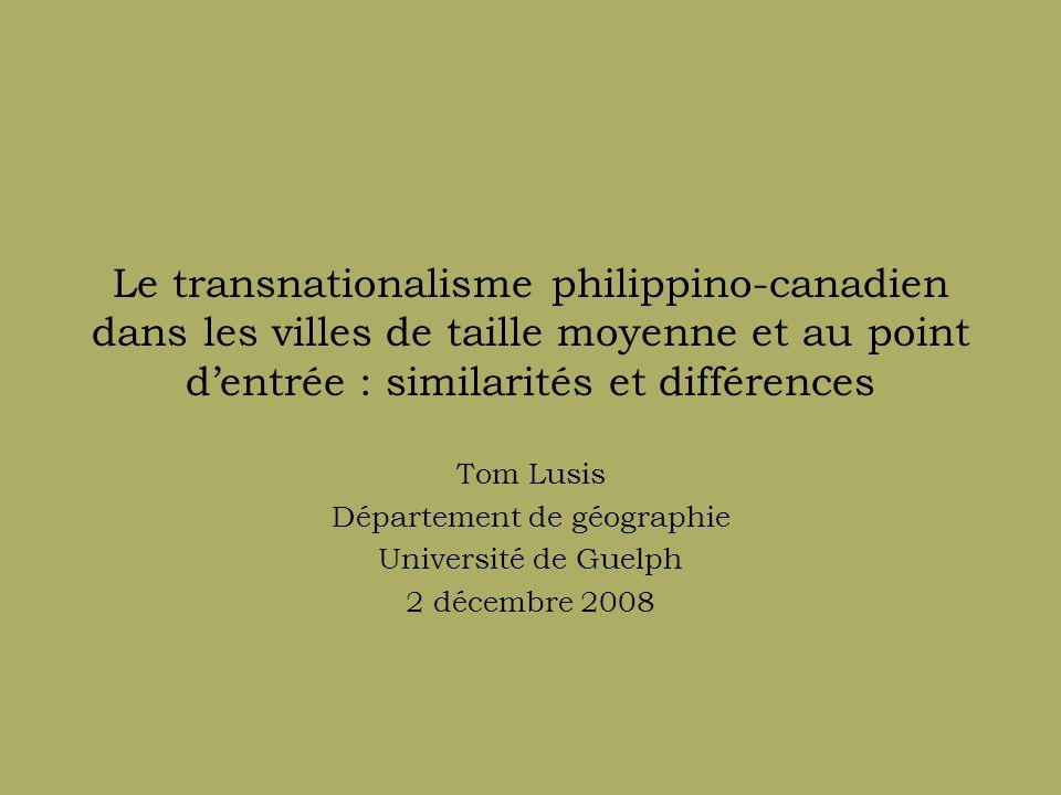 Aperçu de la présentation Introduction Contexte de la recherche Similarités et différences Conclusions Recommandations pour la politique