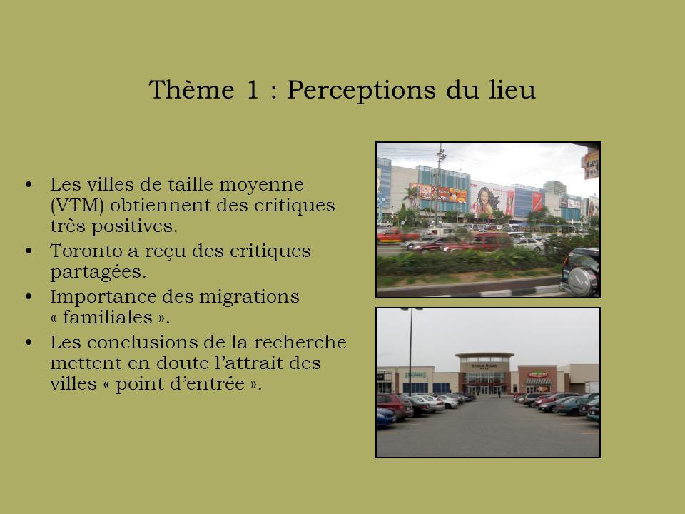 Thème 2 : Perceptions du travail au Canada Obstacles généraux dans tous les lieux étudiés (p.