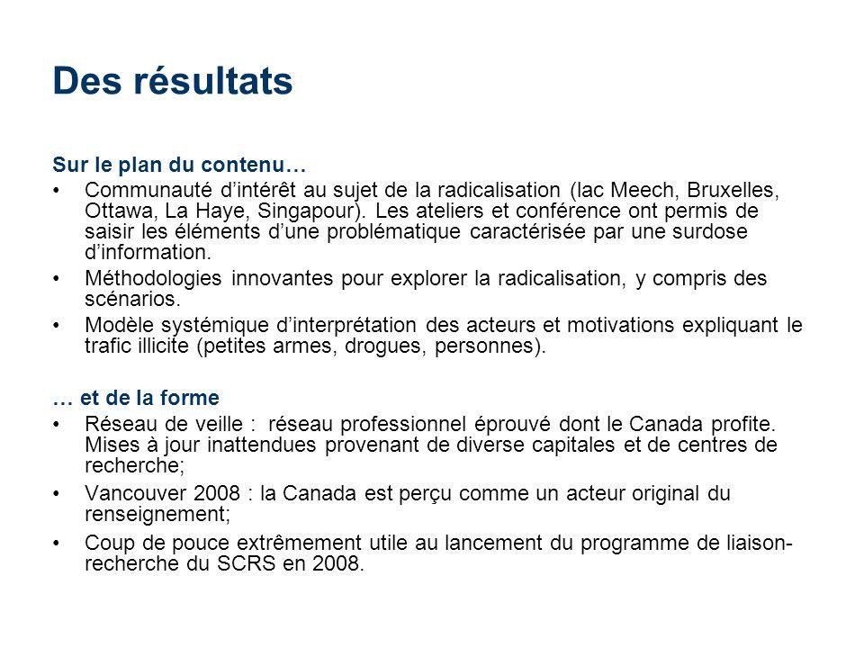 Des résultats Sur le plan du contenu… Communauté dintérêt au sujet de la radicalisation (lac Meech, Bruxelles, Ottawa, La Haye, Singapour). Les atelie