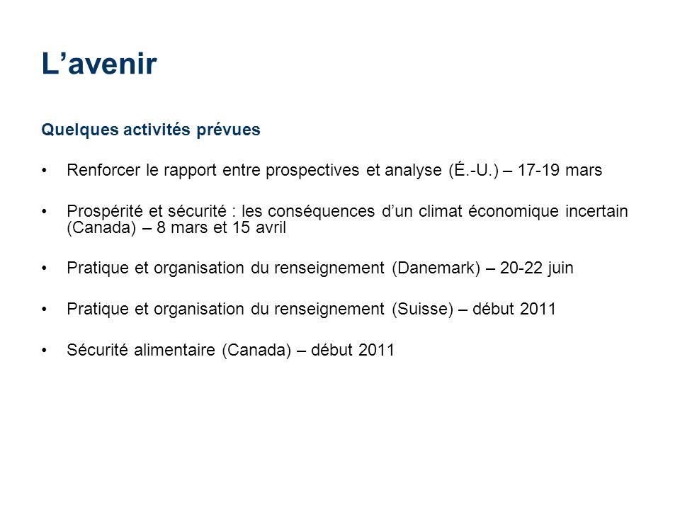 Lavenir Quelques activités prévues Renforcer le rapport entre prospectives et analyse (É.-U.) – 17-19 mars Prospérité et sécurité : les conséquences d