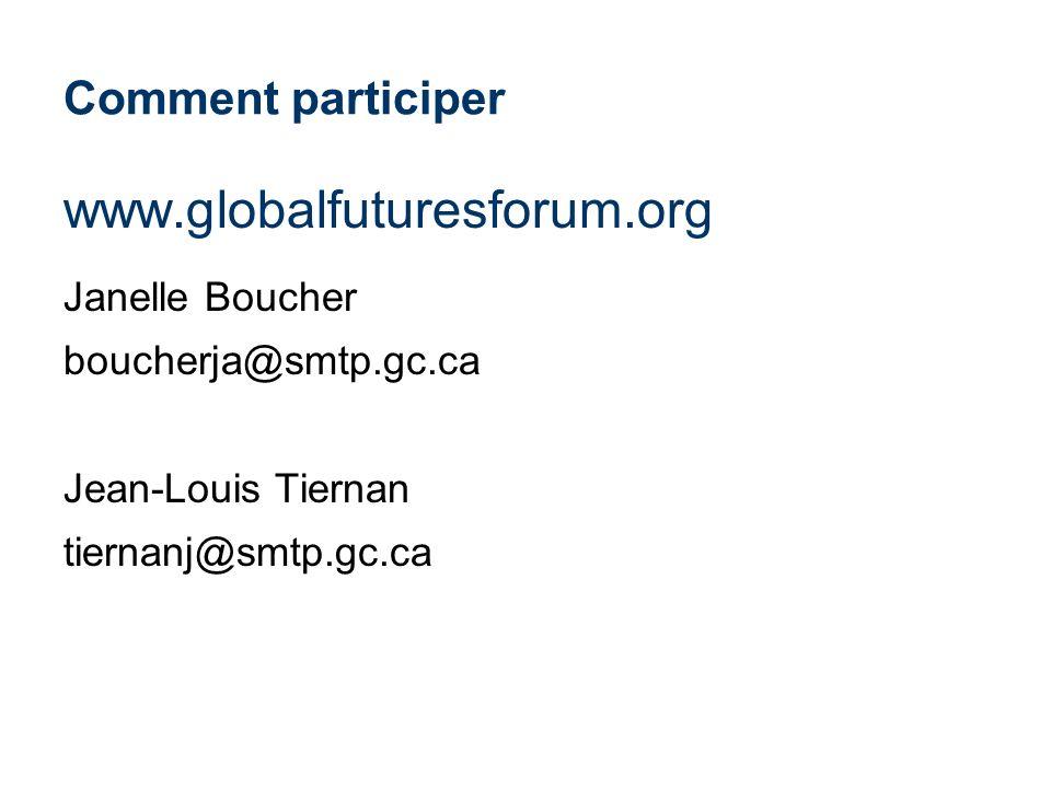 Comment participer www.globalfuturesforum.org Janelle Boucher boucherja@smtp.gc.ca Jean-Louis Tiernan tiernanj@smtp.gc.ca