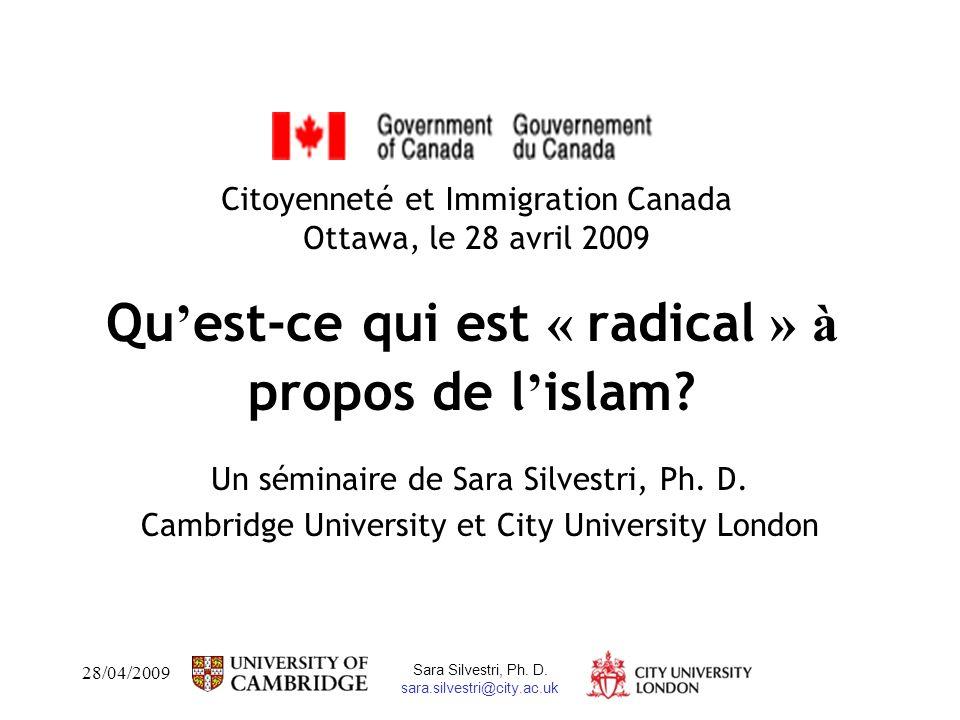 28/04/2009 Sara Silvestri, Ph. D.