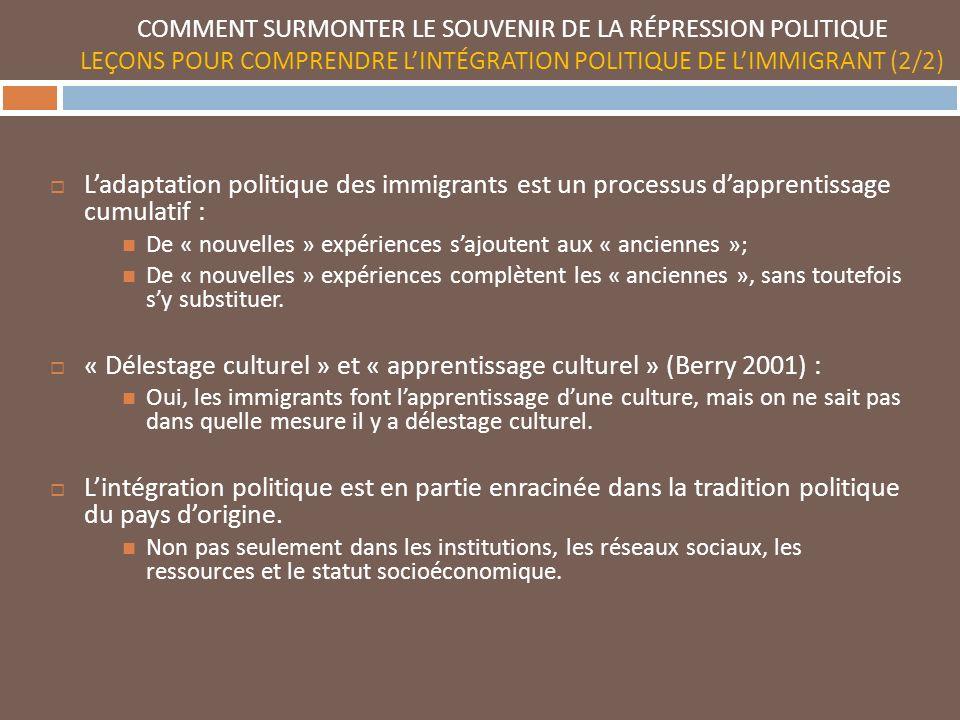 COMMENT SURMONTER LE SOUVENIR DE LA RÉPRESSION POLITIQUE LEÇONS POUR COMPRENDRE LINTÉGRATION POLITIQUE DE LIMMIGRANT (2/2) Ladaptation politique des immigrants est un processus dapprentissage cumulatif : De « nouvelles » expériences sajoutent aux « anciennes »; De « nouvelles » expériences complètent les « anciennes », sans toutefois sy substituer.