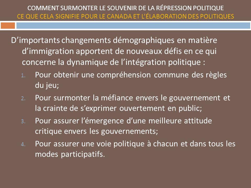 Dimportants changements démographiques en matière dimmigration apportent de nouveaux défis en ce qui concerne la dynamique de lintégration politique : 1.