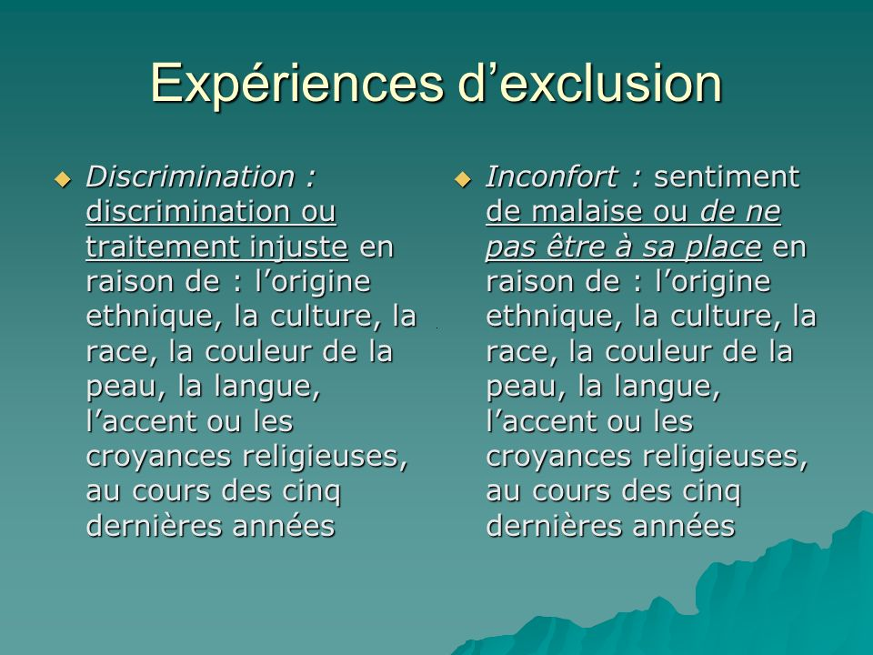 Expériences dexclusion Discrimination : discrimination ou traitement injuste en raison de : lorigine ethnique, la culture, la race, la couleur de la p