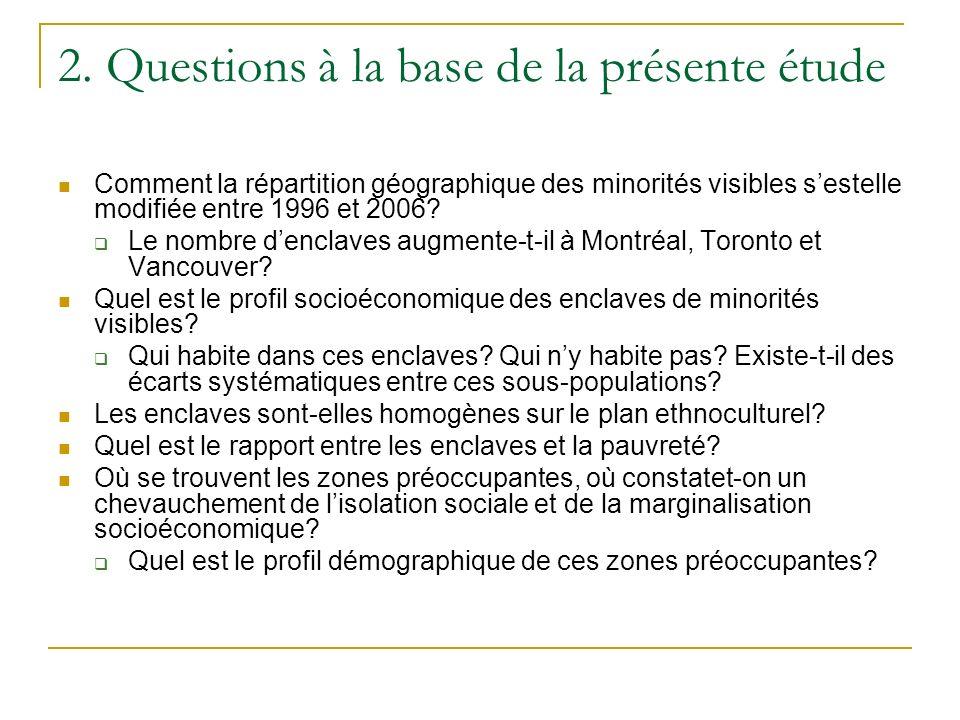2. Questions à la base de la présente étude Comment la répartition géographique des minorités visibles sestelle modifiée entre 1996 et 2006? Le nombr
