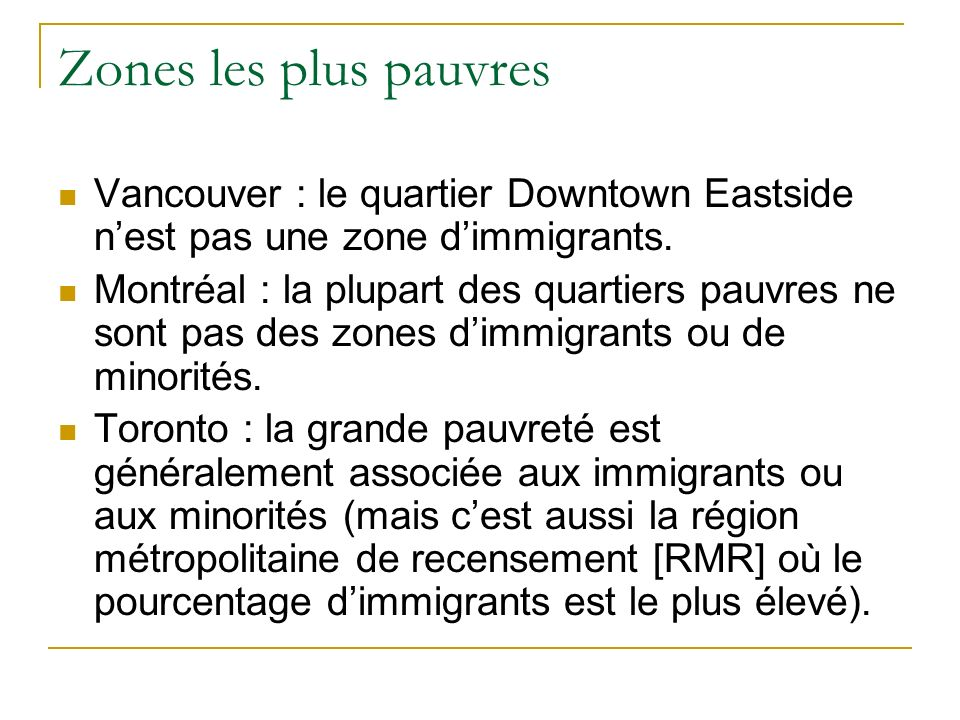 Zones les plus pauvres Vancouver : le quartier Downtown Eastside nest pas une zone dimmigrants.