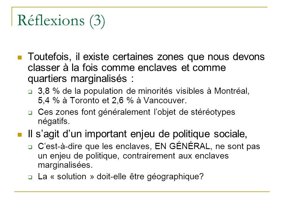 Réflexions (3) Toutefois, il existe certaines zones que nous devons classer à la fois comme enclaves et comme quartiers marginalisés : 3,8 % de la population de minorités visibles à Montréal, 5,4 % à Toronto et 2,6 % à Vancouver.