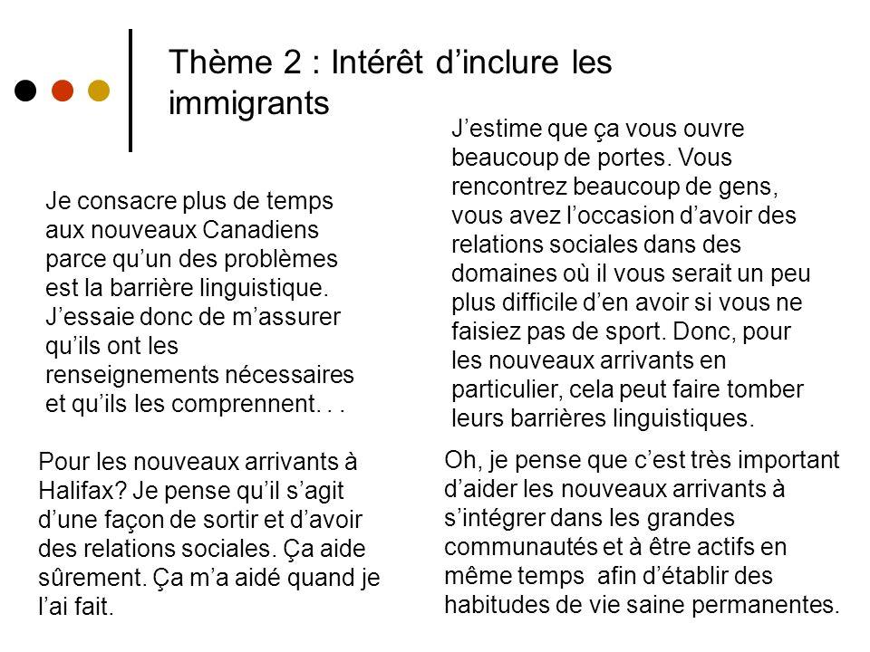 Thème 2 : Intérêt dinclure les immigrants Oh, je pense que cest très important daider les nouveaux arrivants à sintégrer dans les grandes communautés