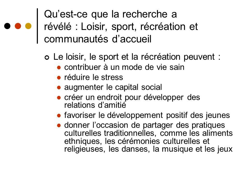 Quest-ce que la recherche a révélé : Loisir, sport, récréation et communautés daccueil Le loisir, le sport et la récréation peuvent : contribuer à un