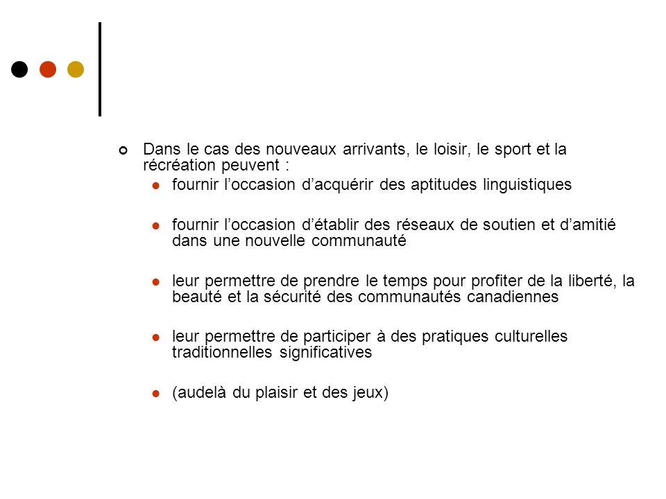Suggestions politiques à la suite de létude de lACE Canadian Geographic, janvier/févier 2006 Lignes directrices politiques aux niveaux fédéraux, provinciaux et locaux Exemples de bonnes pratiques Trousses dinformation conçues pour informer les nouveaux arrivants Module du PNCE sur la sociologie Orientation et mesures incitatives de Sport Canada à lintention des associations locales afin de favoriser linclusion Modèle de forums communautaires