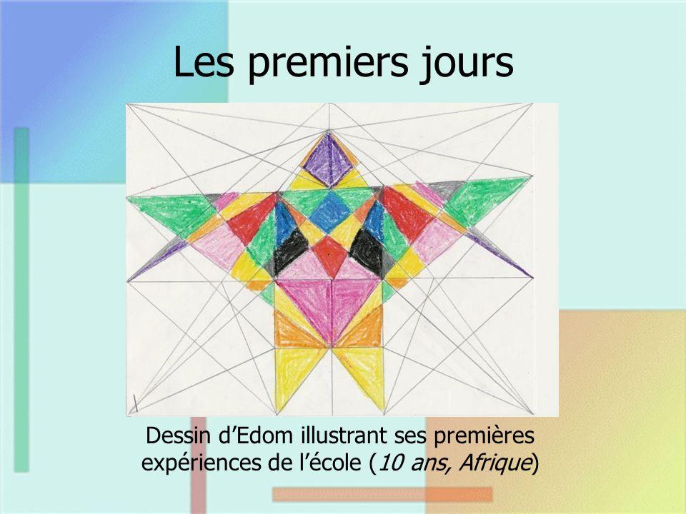 Les premiers jours Dessin dEdom illustrant ses premières expériences de lécole (10 ans, Afrique)