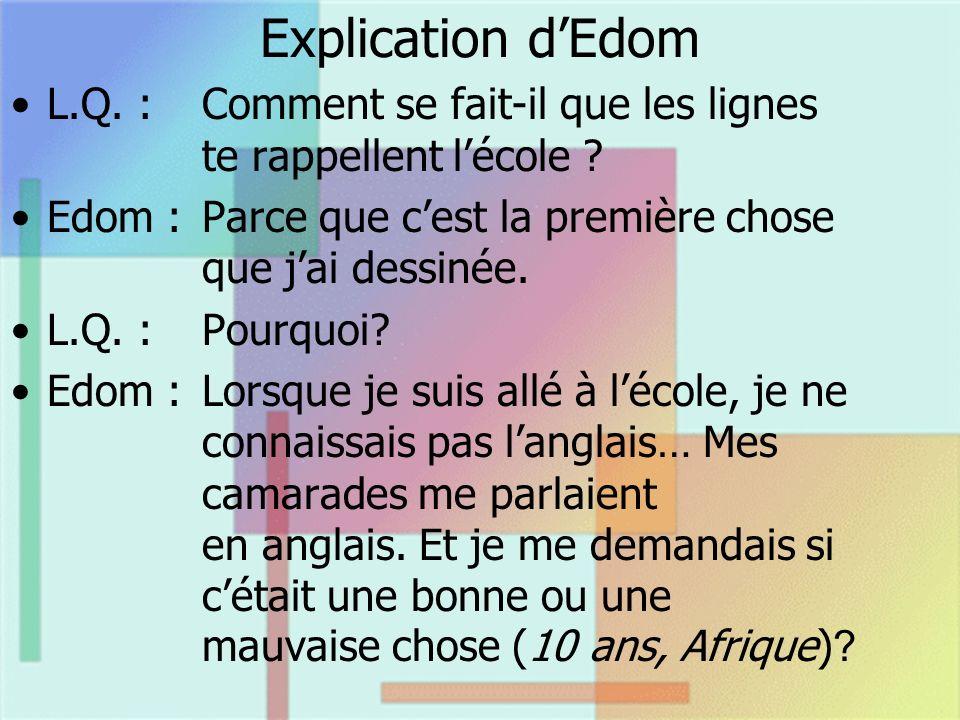 Explication dEdom L.Q. :Comment se fait-il que les lignes te rappellent lécole ? Edom :Parce que cest la première chose que jai dessinée. L.Q. :Pourqu