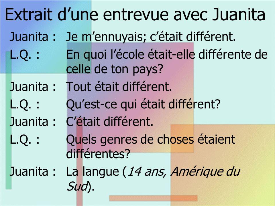 Extrait dune entrevue avec Juanita Juanita : Je mennuyais; cétait différent. L.Q. :En quoi lécole était-elle différente de celle de ton pays? Juanita