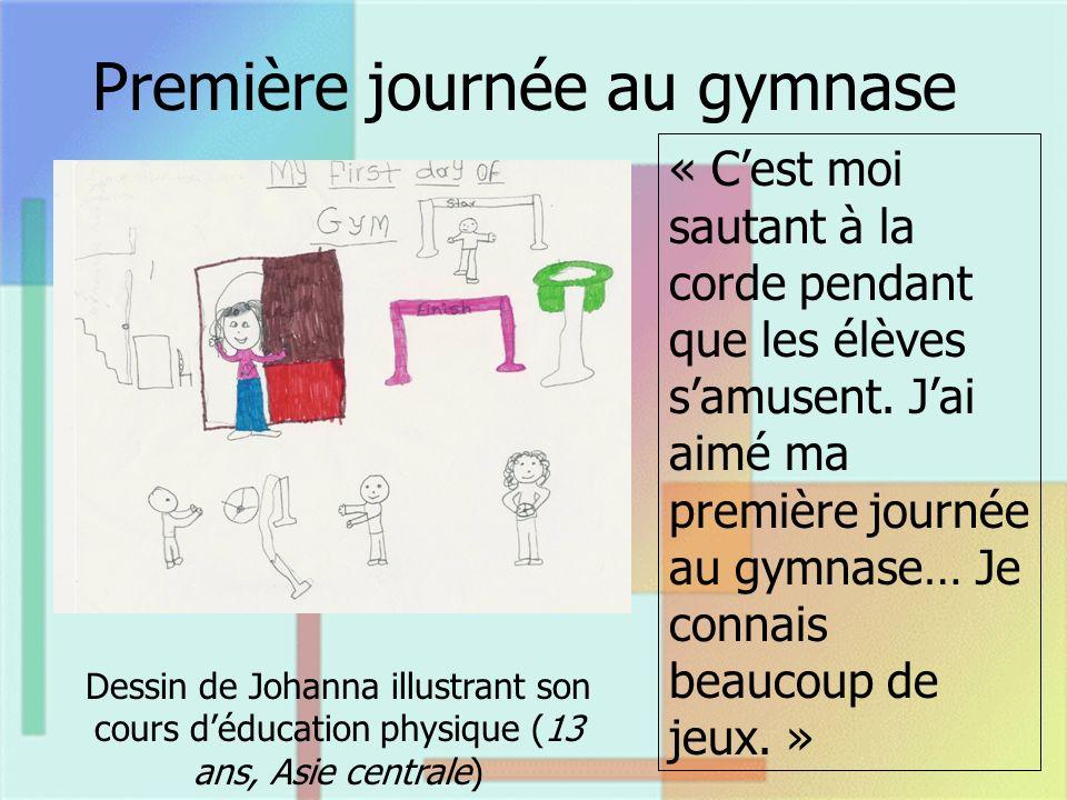 Première journée au gymnase Dessin de Johanna illustrant son cours déducation physique (13 ans, Asie centrale) « Cest moi sautant à la corde pendant que les élèves samusent.