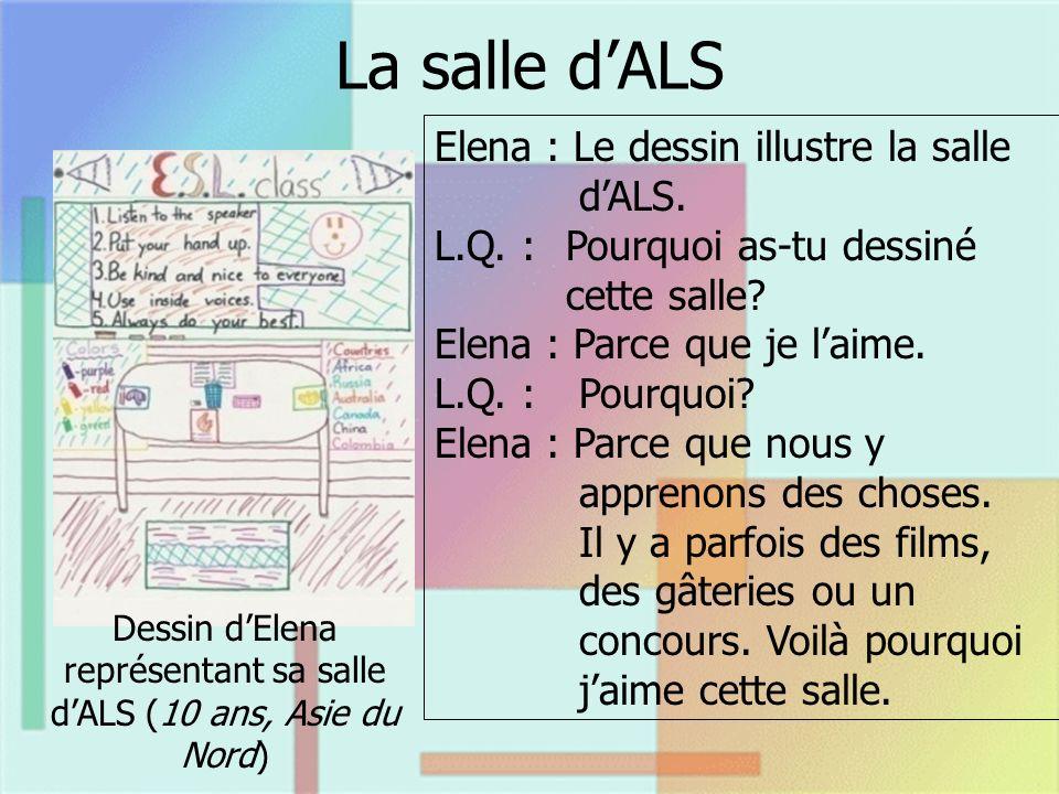 La salle dALS Dessin dElena représentant sa salle dALS (10 ans, Asie du Nord) Elena : Le dessin illustre la salle dALS. L.Q. : Pourquoi as-tu dessiné