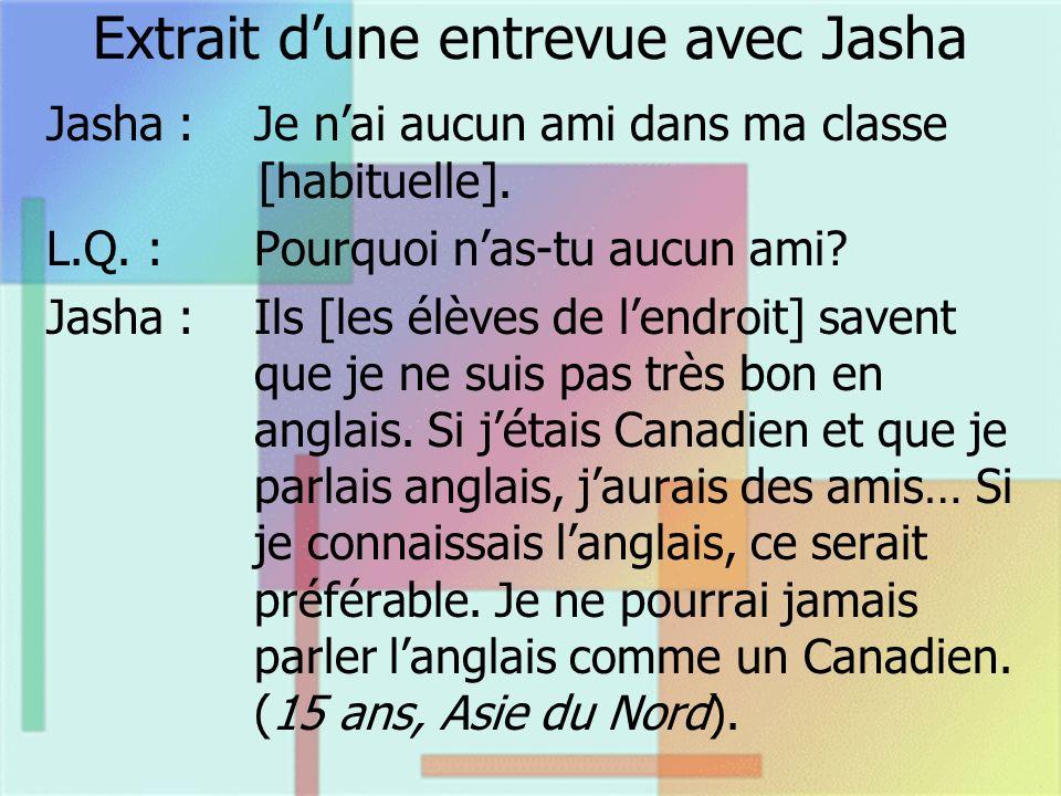 Extrait dune entrevue avec Jasha Jasha :Je nai aucun ami dans ma classe [habituelle]. L.Q. :Pourquoi nas-tu aucun ami? Jasha :Ils [les élèves de lendr