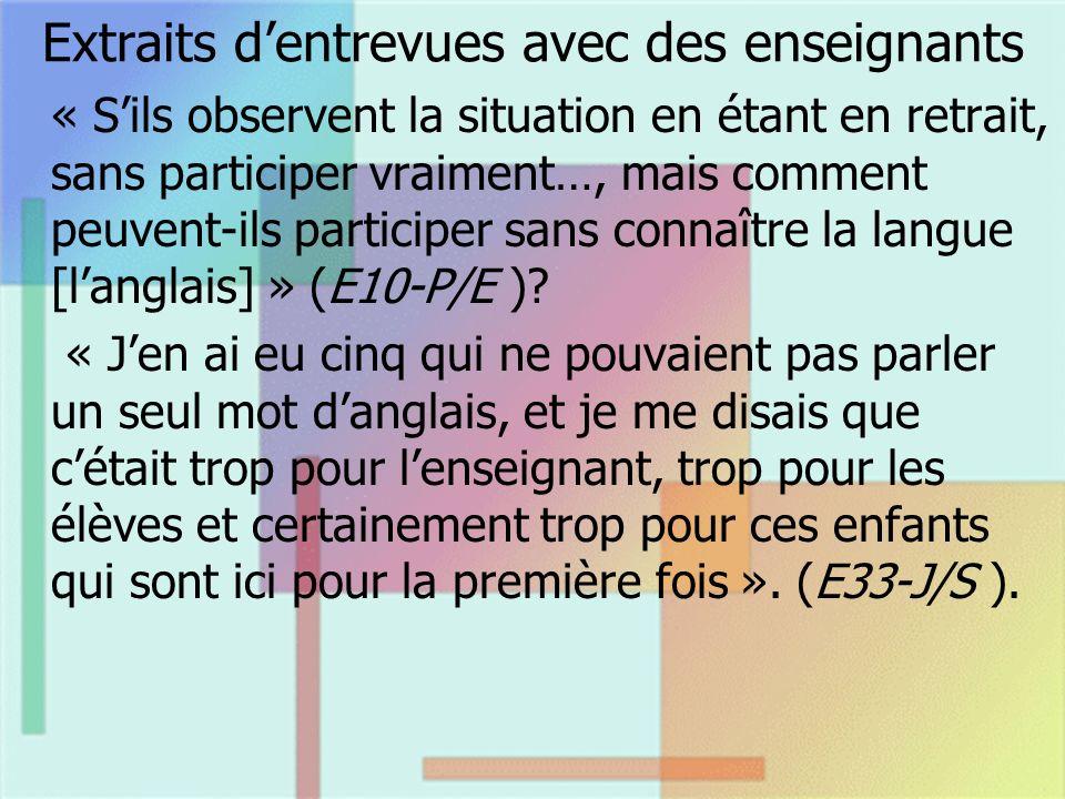 Extraits dentrevues avec des enseignants « Sils observent la situation en étant en retrait, sans participer vraiment…, mais comment peuvent-ils participer sans connaître la langue [langlais] » (E10-P/E ).