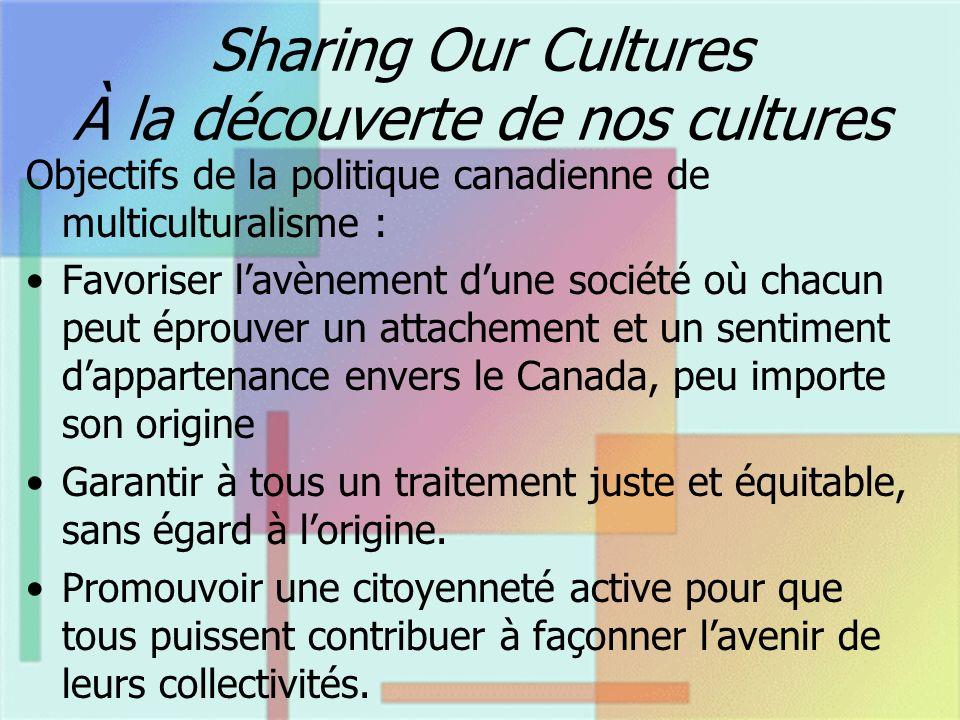 Sharing Our Cultures À la découverte de nos cultures Objectifs de la politique canadienne de multiculturalisme : Favoriser lavènement dune société où chacun peut éprouver un attachement et un sentiment dappartenance envers le Canada, peu importe son origine Garantir à tous un traitement juste et équitable, sans égard à lorigine.