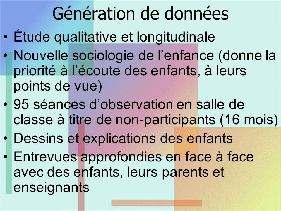 Génération de données Étude qualitative et longitudinale Nouvelle sociologie de lenfance (donne la priorité à lécoute des enfants, à leurs points de v