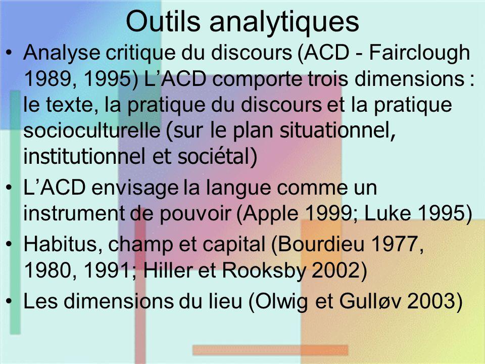 Outils analytiques Analyse critique du discours (ACD - Fairclough 1989, 1995) LACD comporte trois dimensions : le texte, la pratique du discours et la