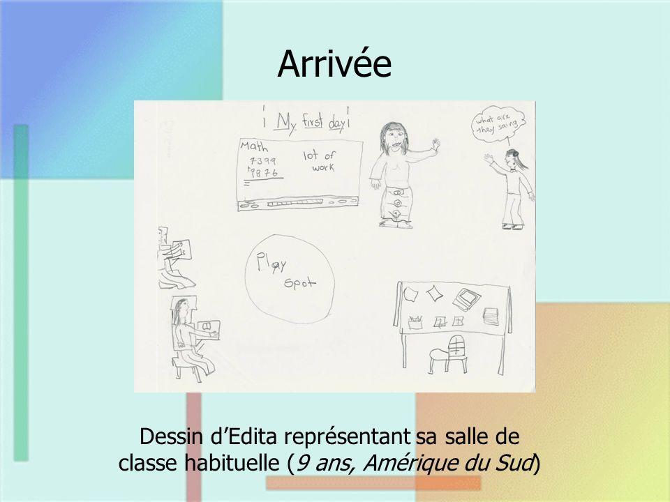 Arrivée Dessin dEdita représentant sa salle de classe habituelle (9 ans, Amérique du Sud)
