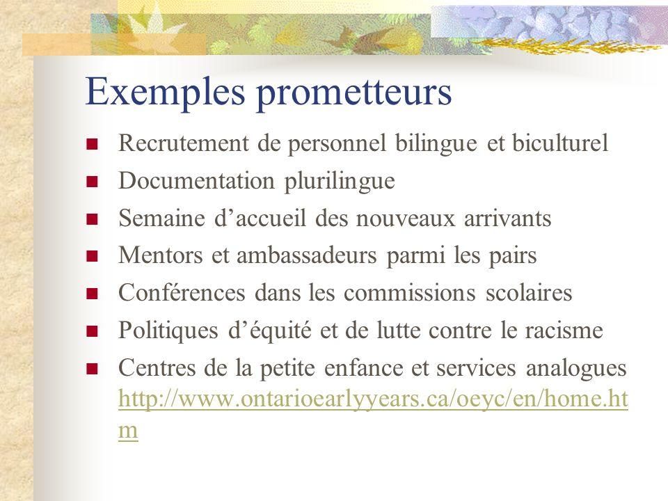 Exemples prometteurs Recrutement de personnel bilingue et biculturel Documentation plurilingue Semaine daccueil des nouveaux arrivants Mentors et amba