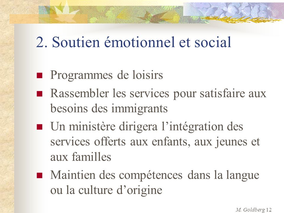 2. Soutien émotionnel et social Programmes de loisirs Rassembler les services pour satisfaire aux besoins des immigrants Un ministère dirigera lintégr