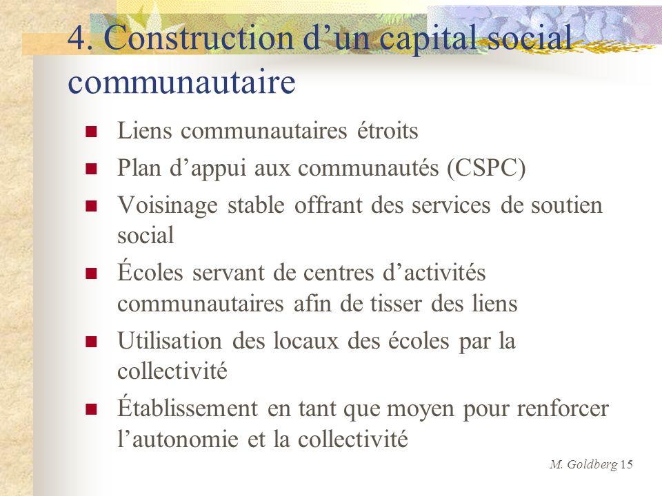 4. Construction dun capital social communautaire Liens communautaires étroits Plan dappui aux communautés (CSPC) Voisinage stable offrant des services