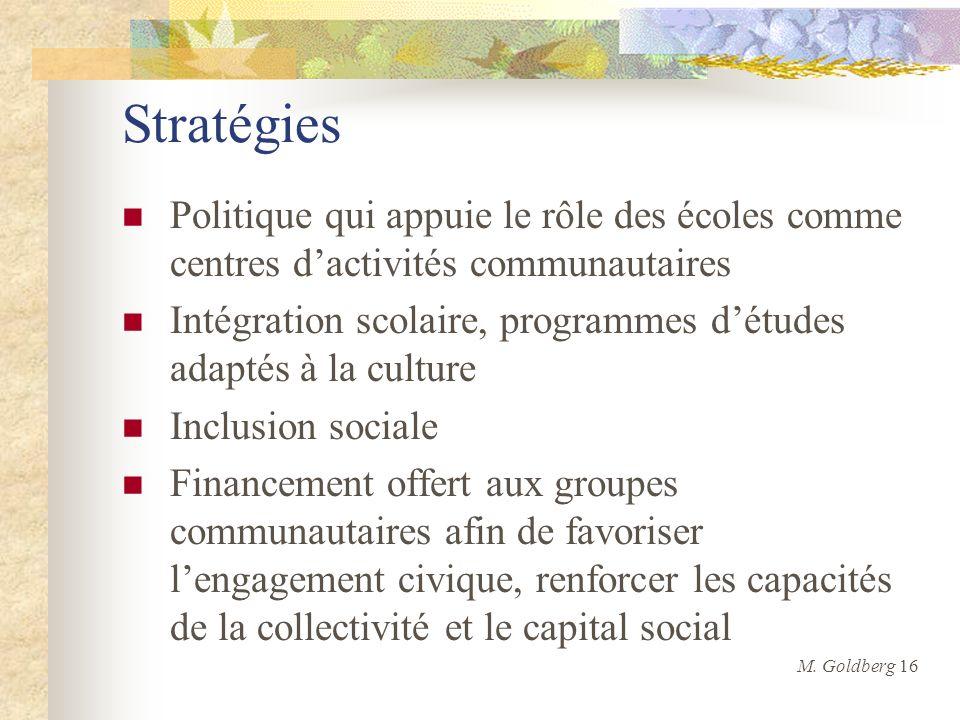 Stratégies Politique qui appuie le rôle des écoles comme centres dactivités communautaires Intégration scolaire, programmes détudes adaptés à la cultu