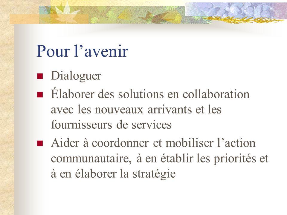 Pour lavenir Dialoguer Élaborer des solutions en collaboration avec les nouveaux arrivants et les fournisseurs de services Aider à coordonner et mobil