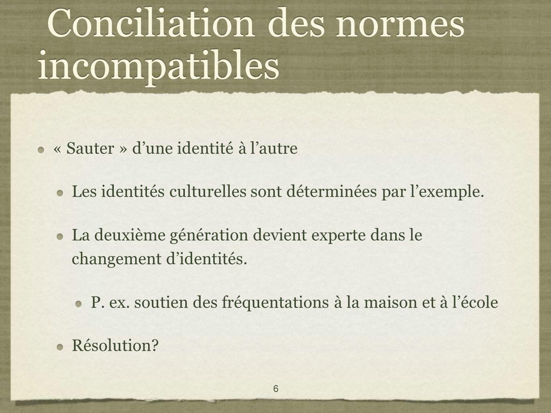 6 Conciliation des normes incompatibles « Sauter » dune identité à lautre Les identités culturelles sont déterminées par lexemple.