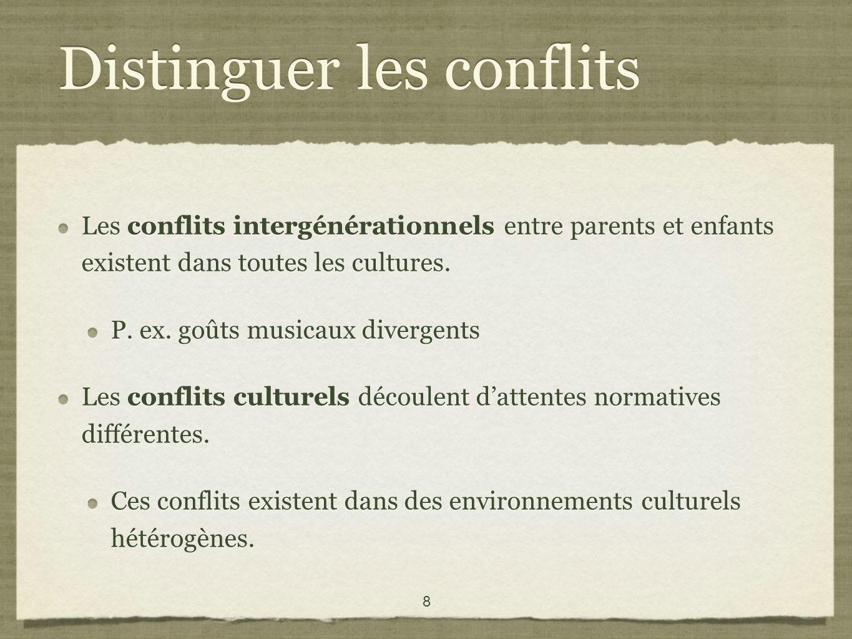 8 Distinguer les conflits Les conflits intergénérationnels entre parents et enfants existent dans toutes les cultures.