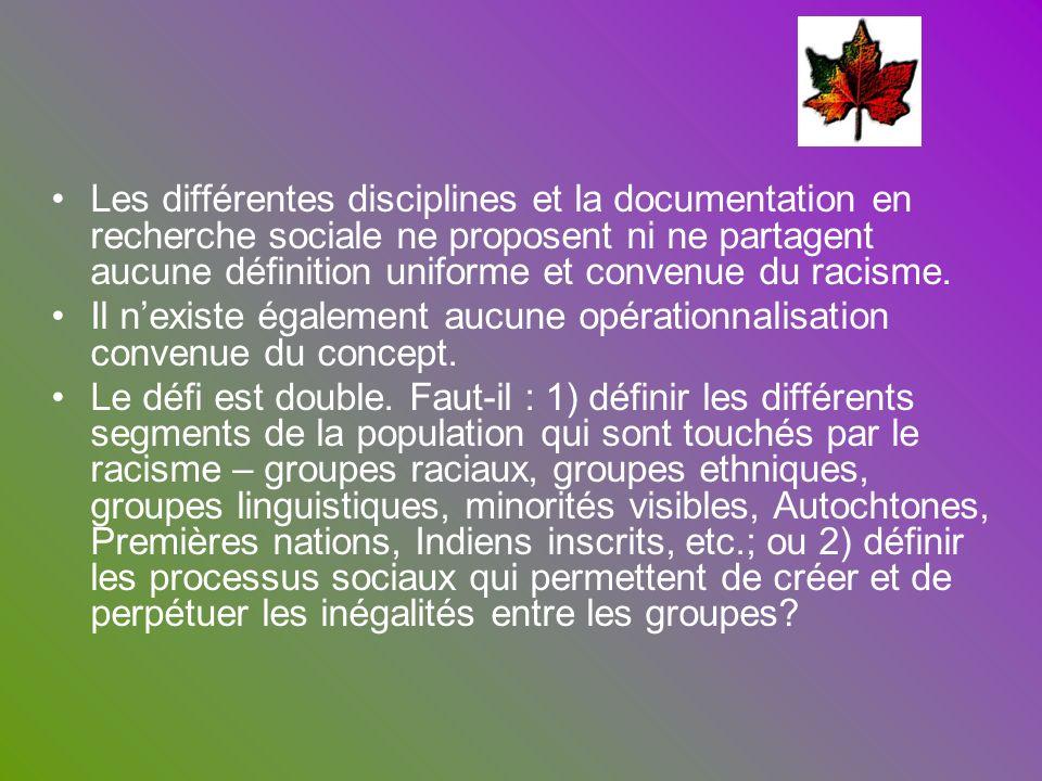 Les différentes disciplines et la documentation en recherche sociale ne proposent ni ne partagent aucune définition uniforme et convenue du racisme. I