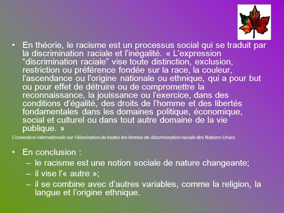 En théorie, le racisme est un processus social qui se traduit par la discrimination raciale et linégalité. « Lexpression discrimination raciale vise t
