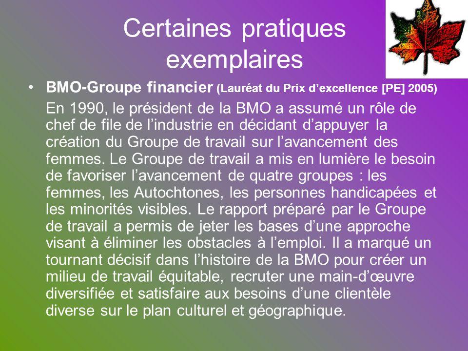Certaines pratiques exemplaires BMO-Groupe financier (Lauréat du Prix dexcellence [PE] 2005) En 1990, le président de la BMO a assumé un rôle de chef