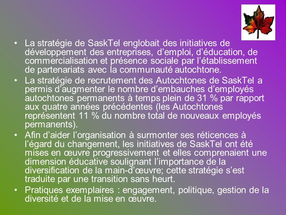 La stratégie de SaskTel englobait des initiatives de développement des entreprises, demploi, déducation, de commercialisation et présence sociale par