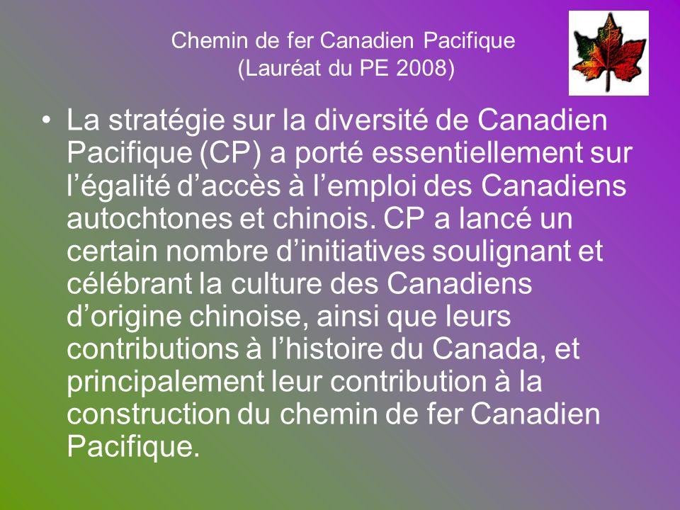 Chemin de fer Canadien Pacifique (Lauréat du PE 2008) La stratégie sur la diversité de Canadien Pacifique (CP) a porté essentiellement sur légalité da