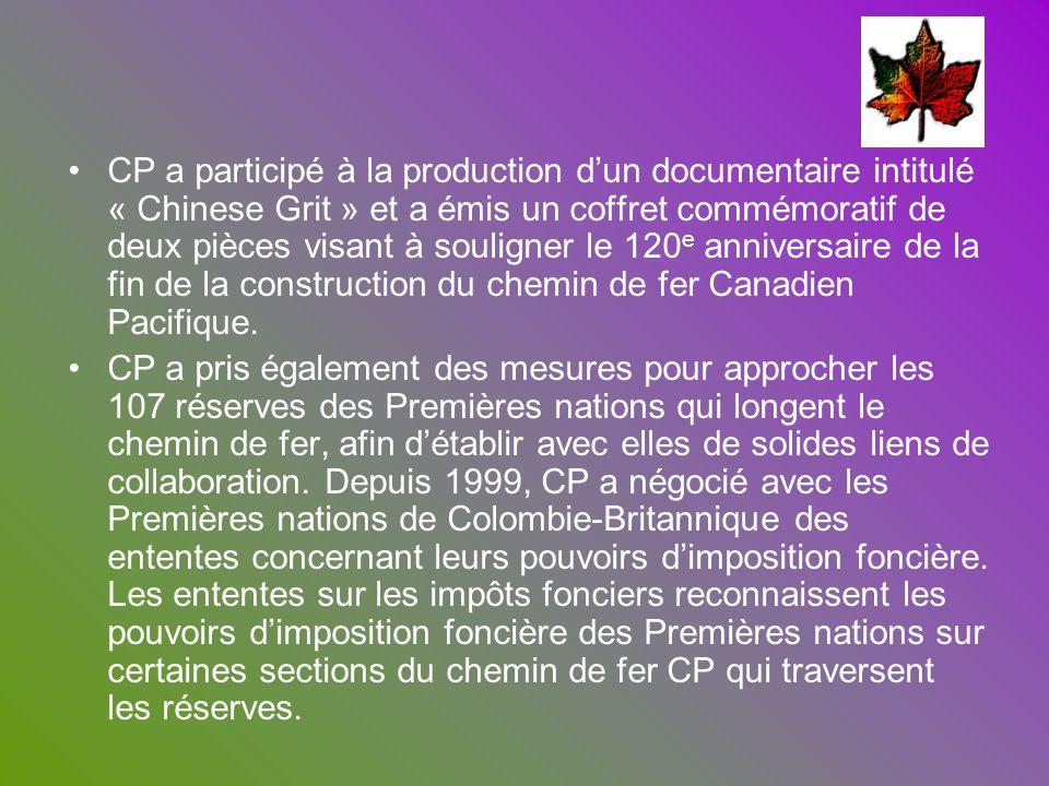 CP a participé à la production dun documentaire intitulé « Chinese Grit » et a émis un coffret commémoratif de deux pièces visant à souligner le 120 e