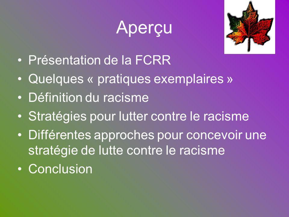 Aperçu Présentation de la FCRR Quelques « pratiques exemplaires » Définition du racisme Stratégies pour lutter contre le racisme Différentes approches